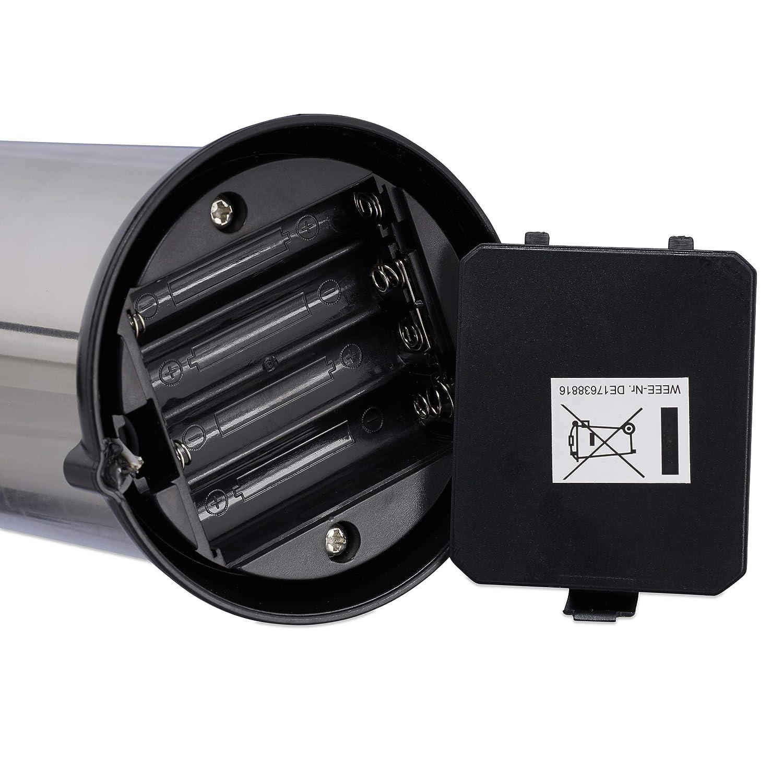 Plateado Dosificador Gel con Sensor Sin Tocar 250 ml Acero Inoxidable Relaxdays Dispensador Jab/ón Autom/ático