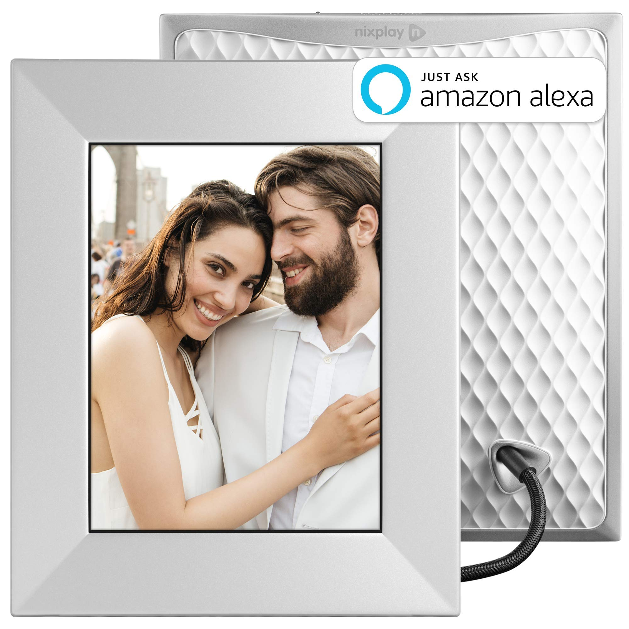 Nixplay Iris 8 Inch Digital Wifi Photo Frame W08E Silver - Digital Picture Frame with IPS Display, Motion Sensor and 10GB Online Storage, Display and Share Photos with Friends via Nixplay Mobile App by nixplay