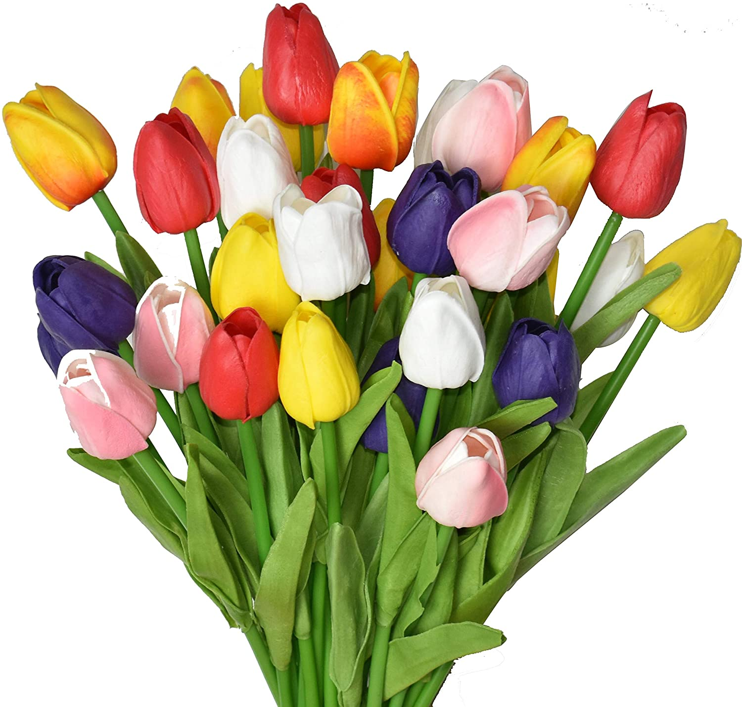 WISTART 24pcs Multicolor Artificial Tulips Flowers Fake Faux PU Tulip Bouquet Real Touch Flower Arrangement for Home Room Office Party Wedding Decoration Excellent Gift Idea for Mothers Day
