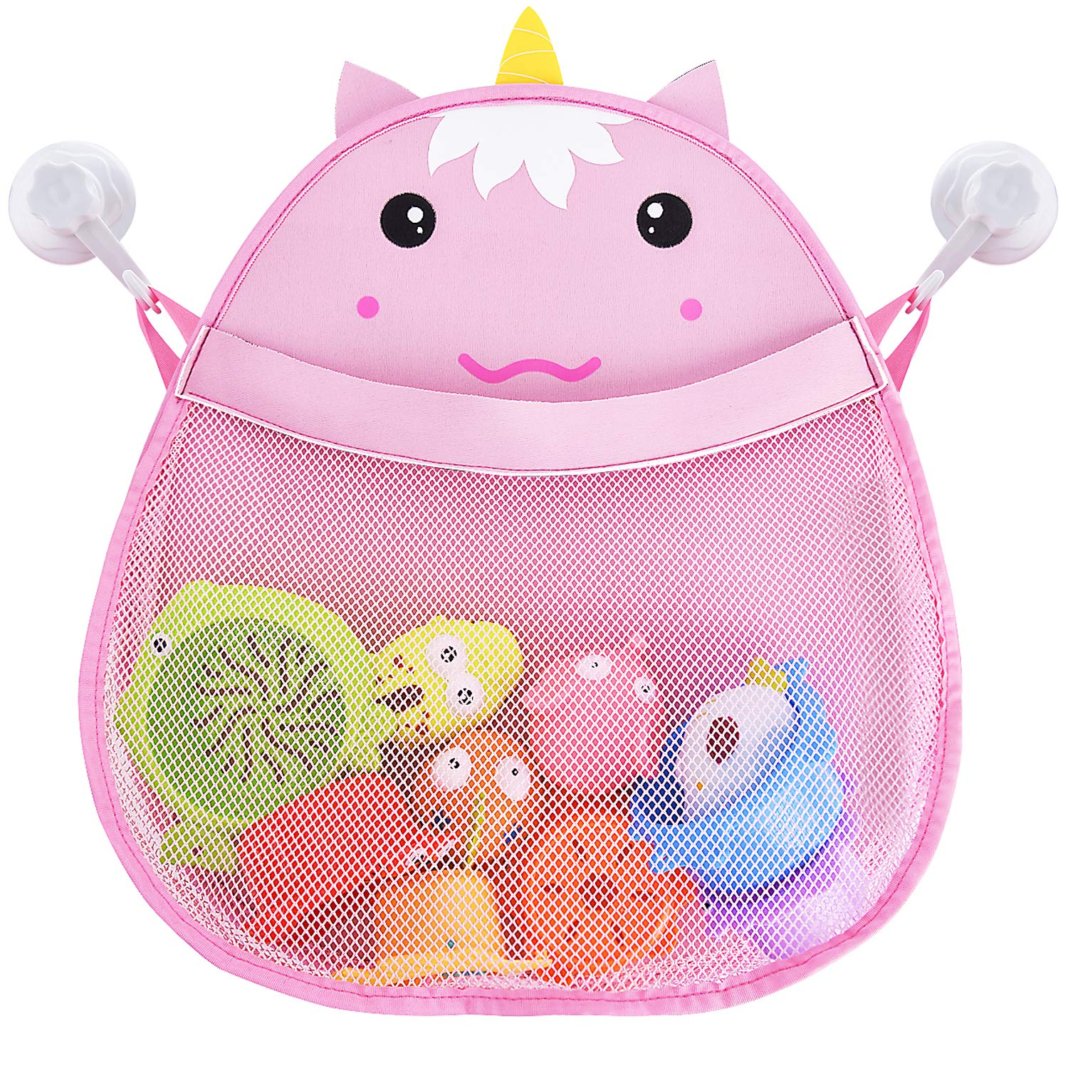 Bath Toy Organizer Baby Bath Toy Storage Mesh Net Extra Large Storage for Toddler Bath Toys Quick Dry Cute Pink Unicorn with Two Heavy Duty Suction Cups