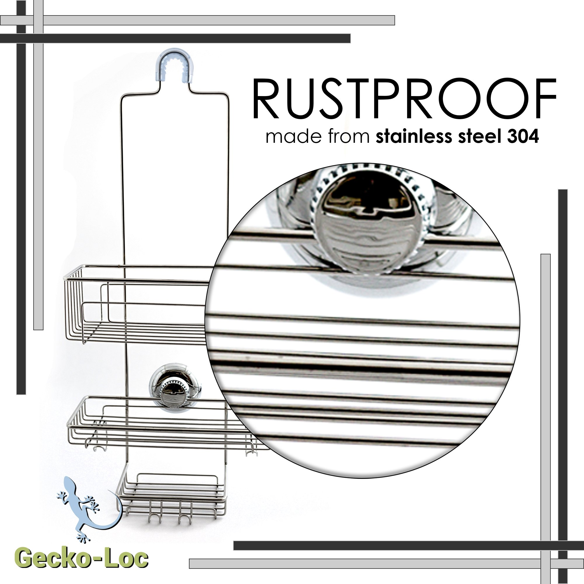 Gecko Loc Over The Shower Head Tall Shower Caddy Organizer With