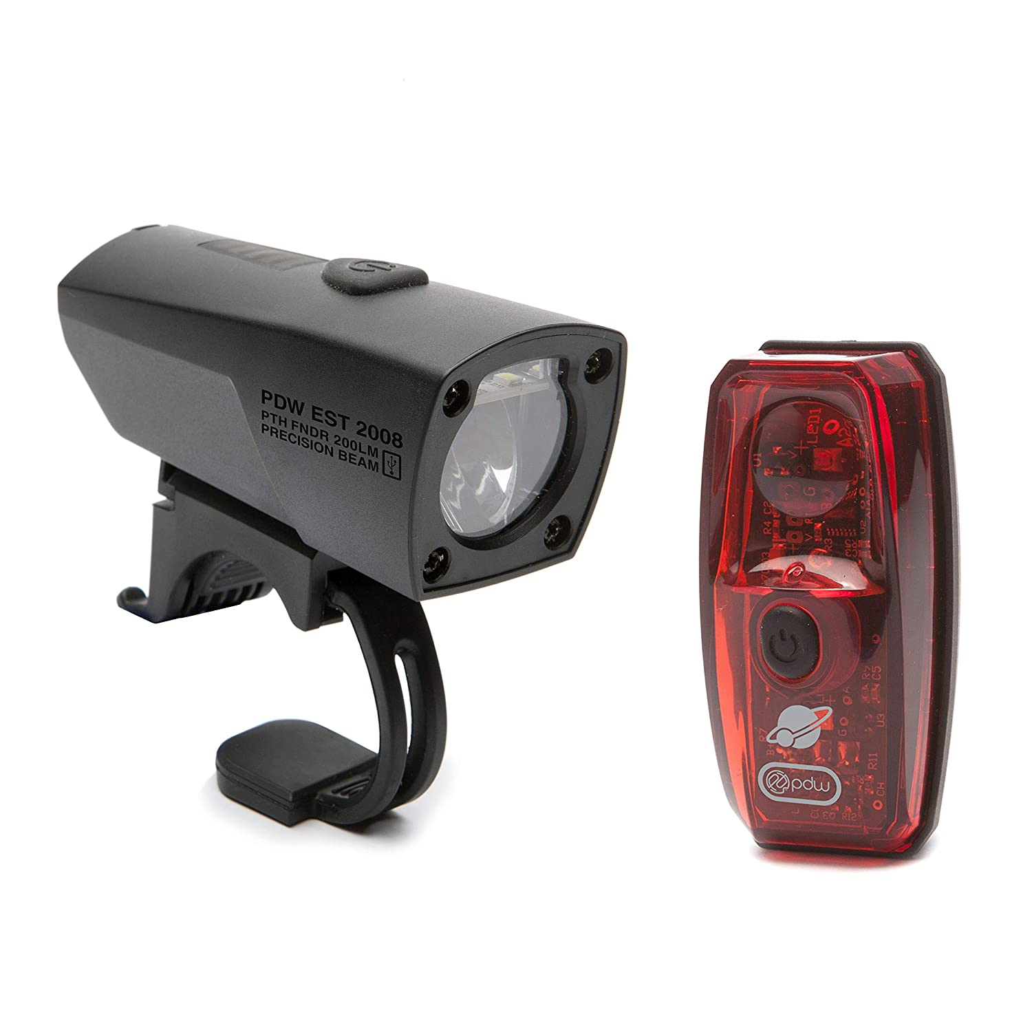 Black//Red Portland Design Works Pathfinder//Io USB Rechargeable Light Set