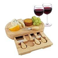 StarBlue Tagliere da formaggio Set 4 coltelli e cassetto estraibile | Ampio tagliere da taglio in legno di quercia | Ideale per utilizzo domestico o come regalo di compleanno