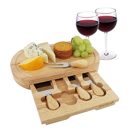 Queso Junta Set por starblue – con 4 cuchillos y madera de roble con cajón | gran queso y plato para servir de corte de plato bandeja | mejor para ...