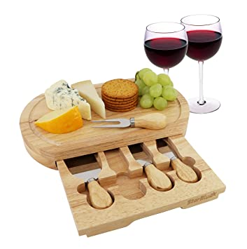 Cheese Board Set By Starblue With 4 Knives And Slide Out Drawer Large Oak Wooden Cheese And Platter Cutting Serving Plate Tray Best For