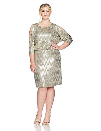 Jessica Howard Womens Plus Size Cold Shoulder Blouson Dress At