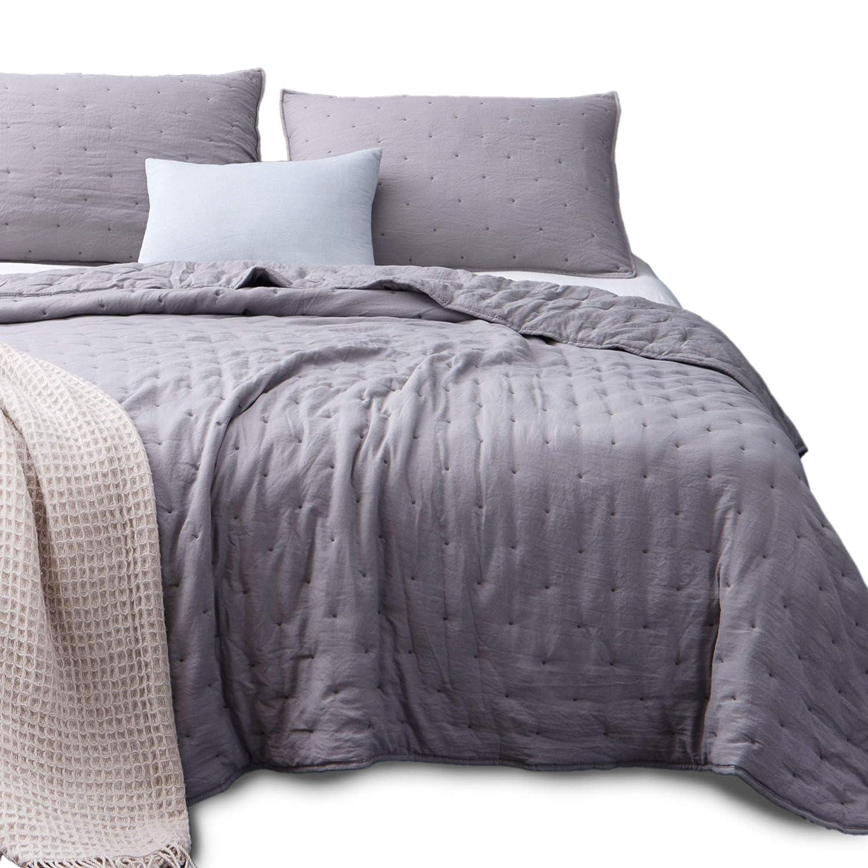 Kasentex Quilt-Coverlet-Bedspread-Blanket-Set + Two Shams, Ultra Soft, Machine Washable, Lightweight, All Season, Nostalgic Design - Hypoallergenic - Solid Color - King Size Set KXW1702-BL