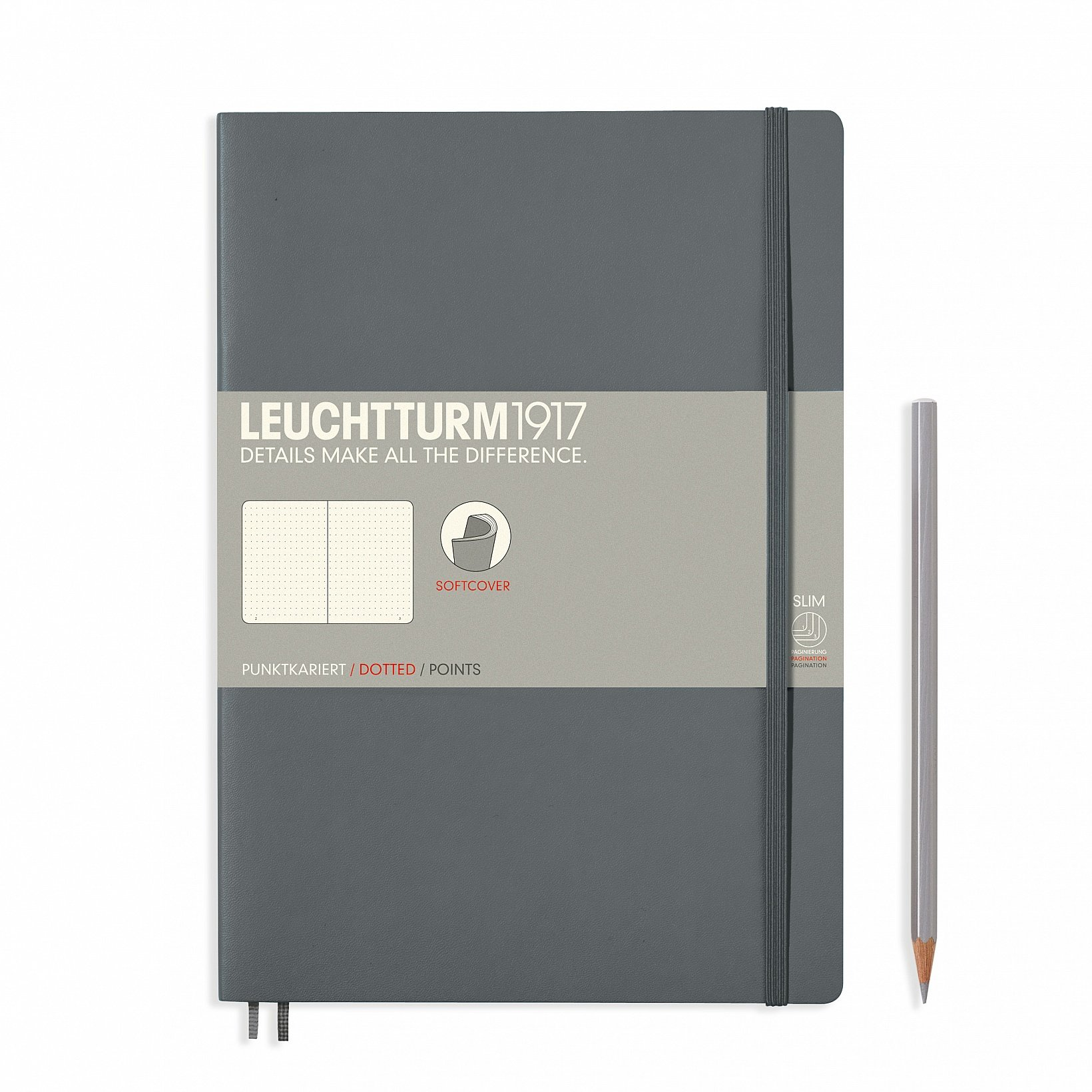 Leuchtturm 1917 Soft Cover Composition B5 Notebook 7'' x 10'', Anthracite Gray, Dotted / Points