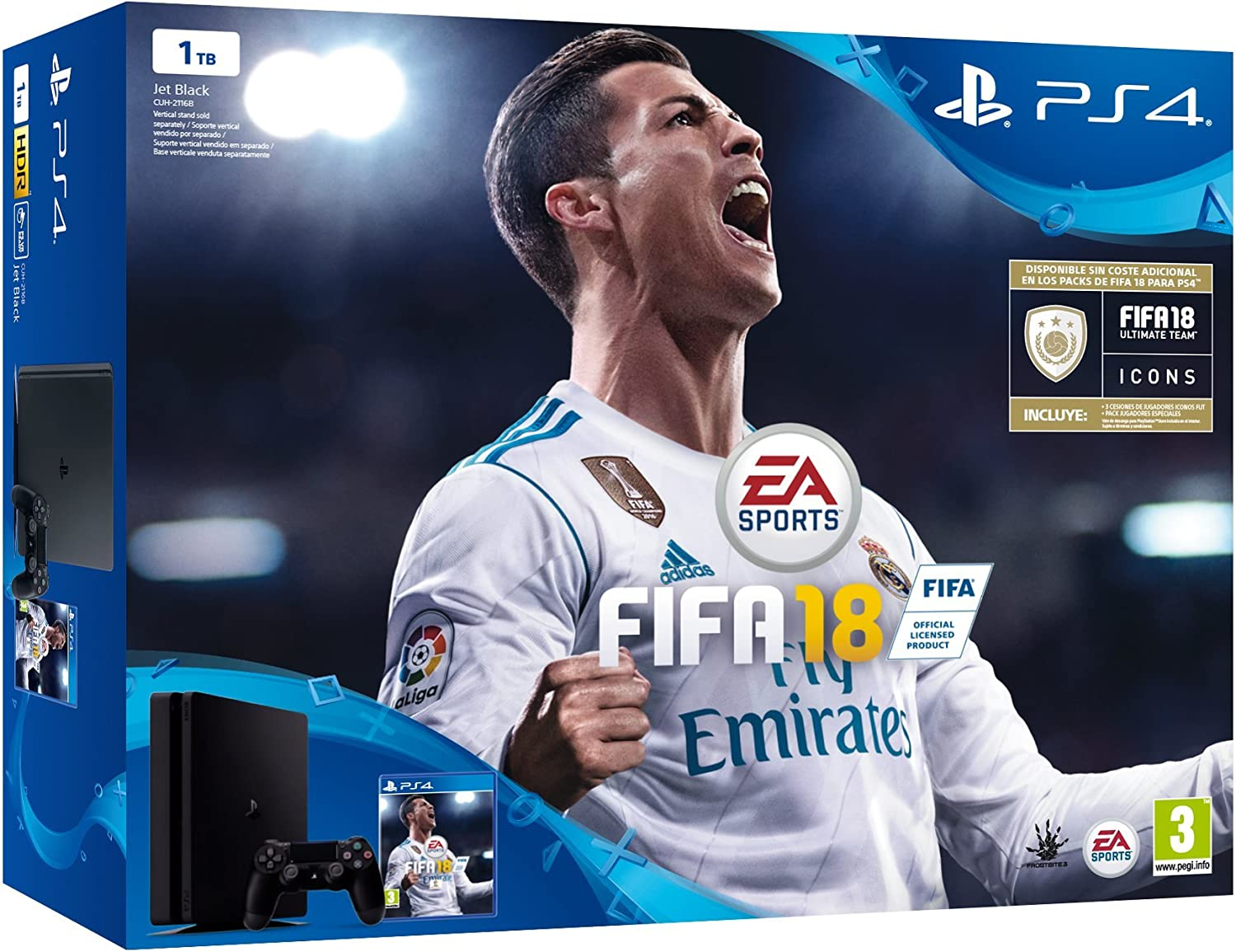 Sony, PlayStation 4 (PS4) - Consola de 1 TB + FIFA 18: Amazon.es ...