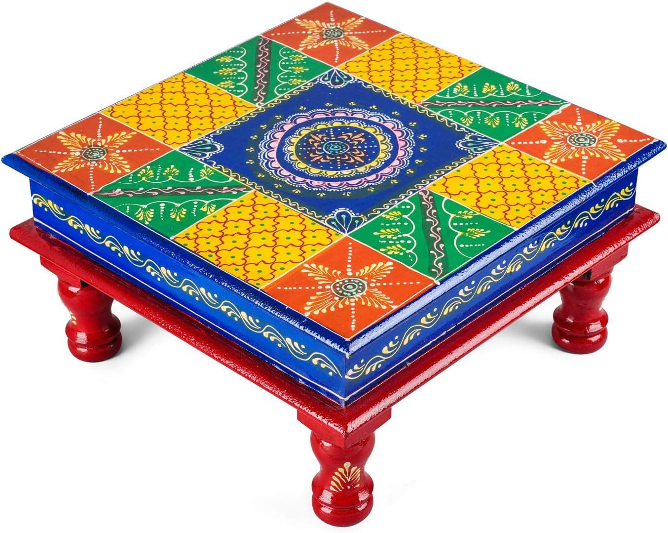 2dozay Wooden Floral Printed Multipurpose Pooja Mandir Chowki (Multicolour)