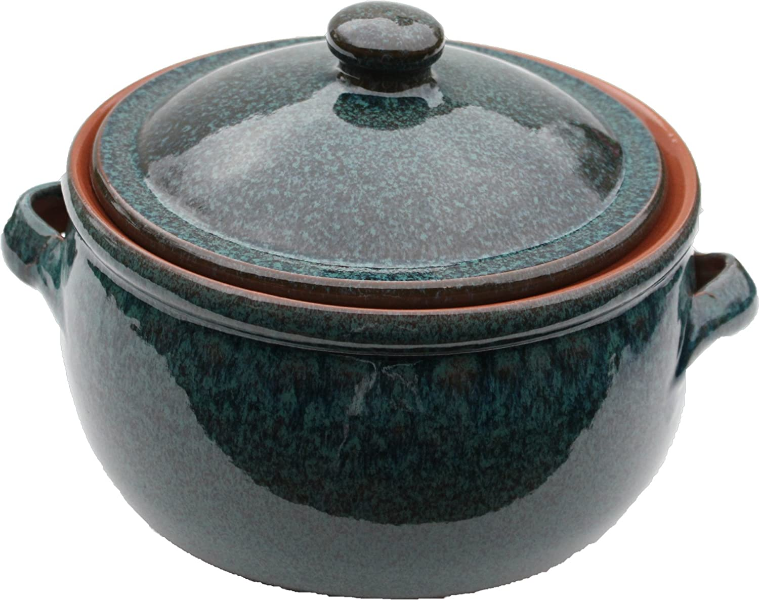 Mazali Pottery Emilio Reactive Spanish Cookware Stew Pot, Terracotta, Green PEA114 UNA_01367155_BlackWhite-40x50