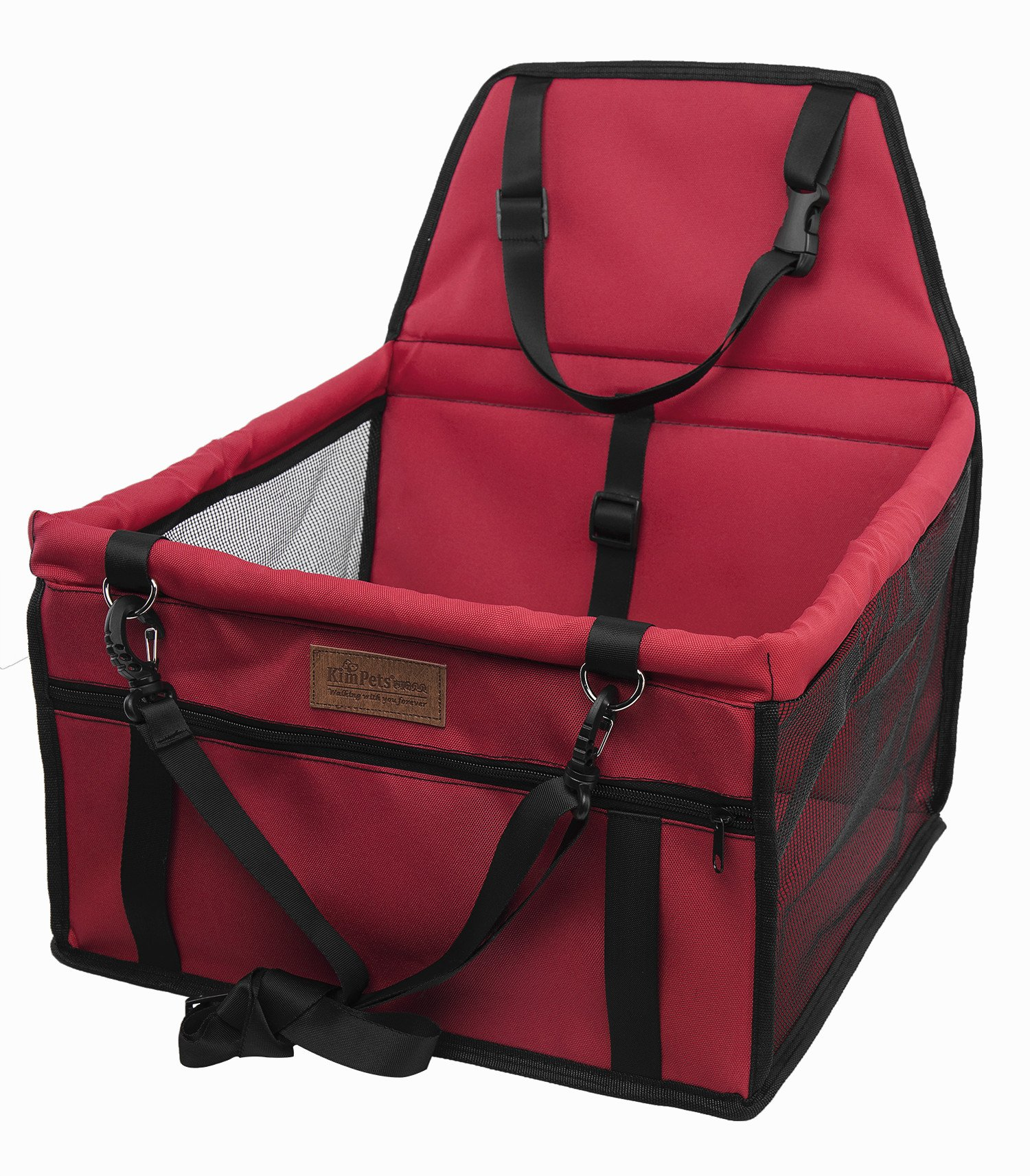 SWIHEL Pet Car Booster Seat Travel Carrier Cage, Oxford Breathable Folding Soft Washable Travel Bags for Dogs Cats or Other Small Pet. [ RED ]