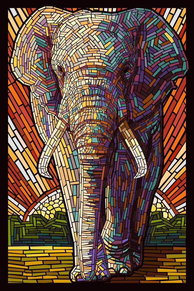 【即発送可能】 アフリカ象 – 用紙モザイク 12 x 36 18 Giclee Metal 18 Sign LANT-42912-12x18M B00N5CFK3C 24 x 36 Giclee Print 24 x 36 Giclee Print, 朝の目覚めショップ:a18335f8 --- 4x4.lt