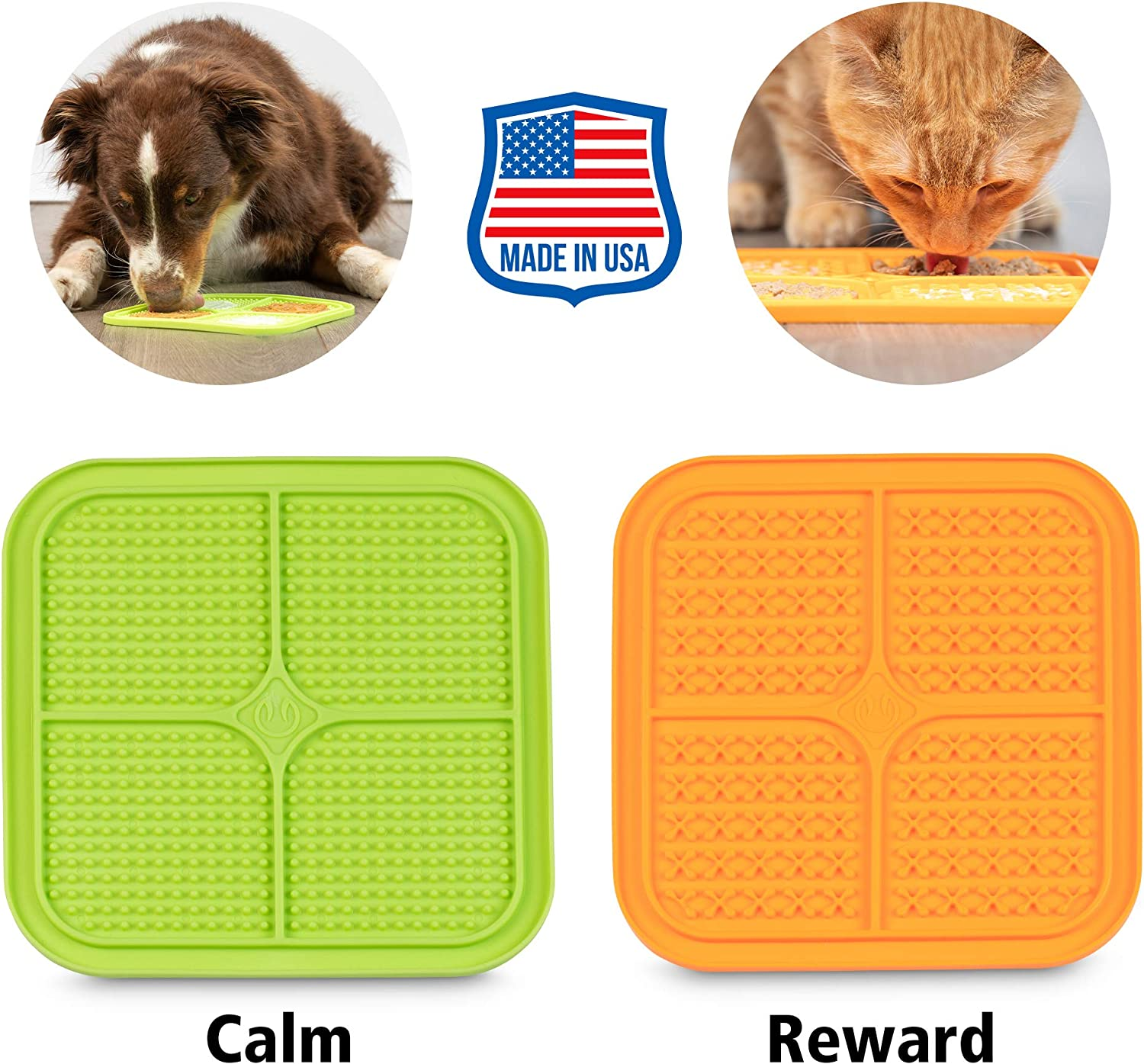 Hyper Pet Licking Mat for Dogs & Cats (New Version, IQ Treat Mat) | Made in U.S. | Fun Alternative to Slow Feeder Dog Bowls, Calming Mat for Anxiety Relief, Boredom Buster | Just Add Healthy Treats