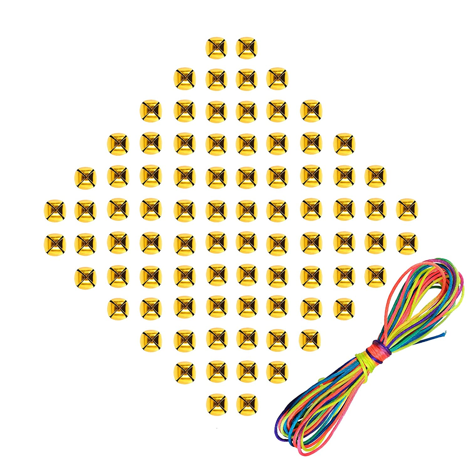 180 Pcs Christmas Gold Small Jingle Bells for DIY Crafts Charms Jewelry Home Decoration with 6-Meter Rainbow Cords, 1/2 inch by SKYCOOOOL