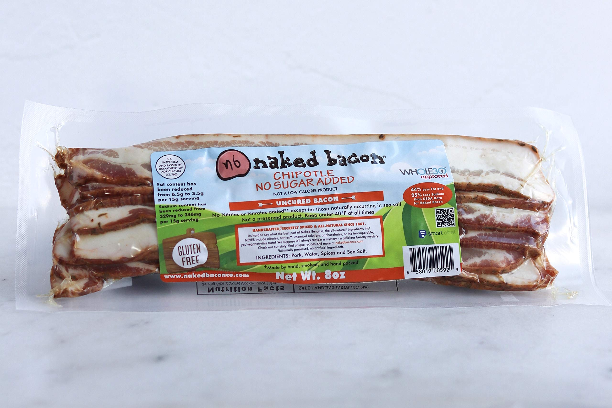 Chipotle Sugar Free Naked Bacon - Whole30 Approved Multipack (5 packages)