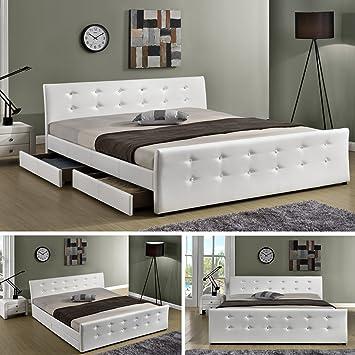Luxusbett U0026quot;Phoenixu0026quot; Weiss Doppelbett Polsterbett Mit 4 Bettkasten  Bett Lattenrost Kunstleder (140x200cm