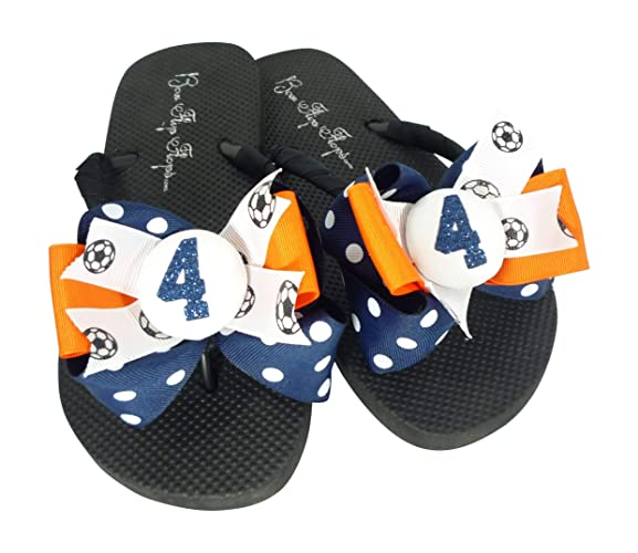 7eefb528e1a5c4 Image Unavailable. Image not available for. Color  Nav   Orange Soccer  Number Glitter Bow Flip Flops for Women ...