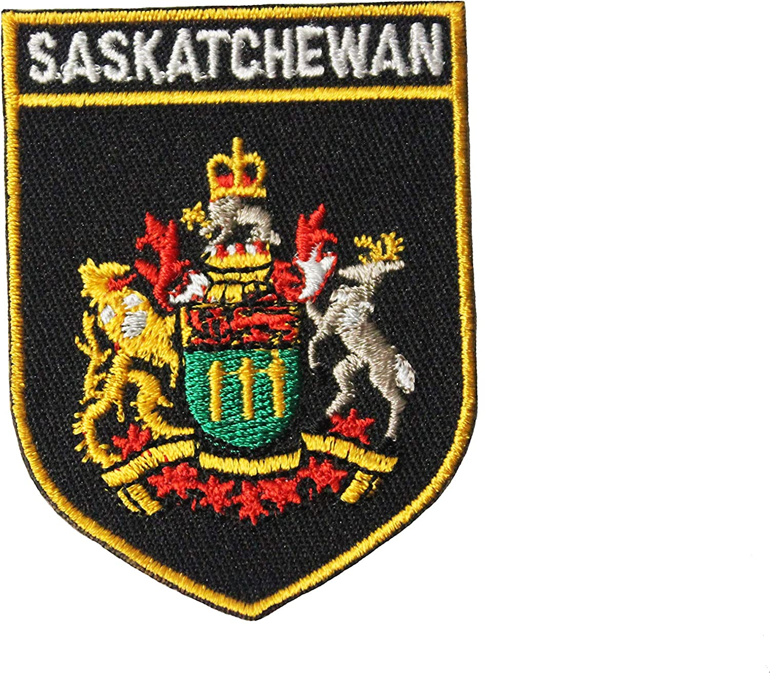 New 2 1//8 x 2 7//8 Inch SASKATCHEWAN Black Shield CANADA Provincial Flag Embroidered Iron on Patch Crest Badge.Size