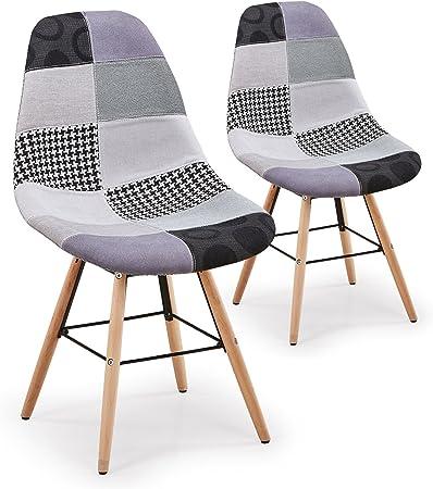 Menzzo Lisa Patchwork – Juego de 2 sillas escandinava, Tejido, Gris, 53 x 46 x 82 cm: Amazon.es: Hogar