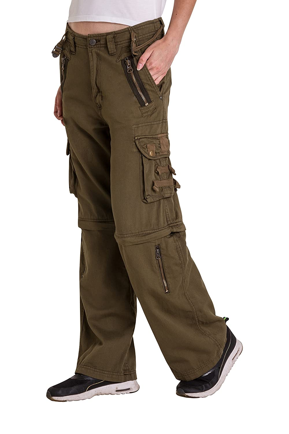 Qaswa Women Convertible Trousers Multi Pockets Casual Cargo Army Military Ladies Outdoor Pants