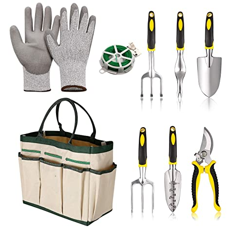 9 Piece Garden Tools Kit Best Gardening Gifts Vegetable Herb Gardening Tools  With Storage Tote Garden