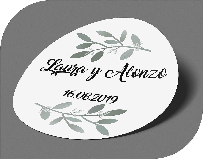 CrisPhy Pegatinas Personalizadas Boda con Nombre y Fecha, Etiquetas Adhesivas para Invitacion Boda, Bautizo, Compromiso, Cumpleaños, Fiesta, Navidad, Vintage, Sellos (Modelo 11)