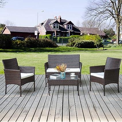 Merax Gartenmöbel Set Balkonmöbel Outdoor Loungeset Sitzgruppe Gartentisch  Garten Möbel Für 4 Personen | Lounge Rattanoptik Poly Rattan für Balkon ...