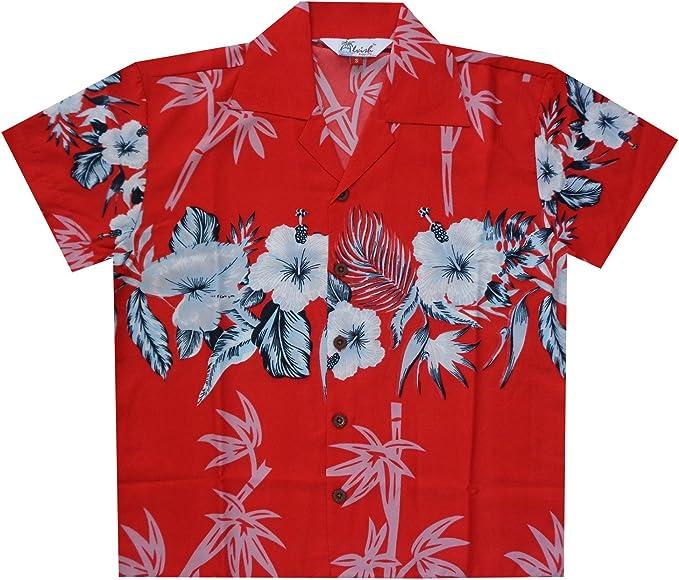 Camisas hawaianas de bambú para niños, playa, Aloha, fiesta, campamento, manga corta, día festivo casual - Rojo - Large: Amazon.es: Ropa y accesorios