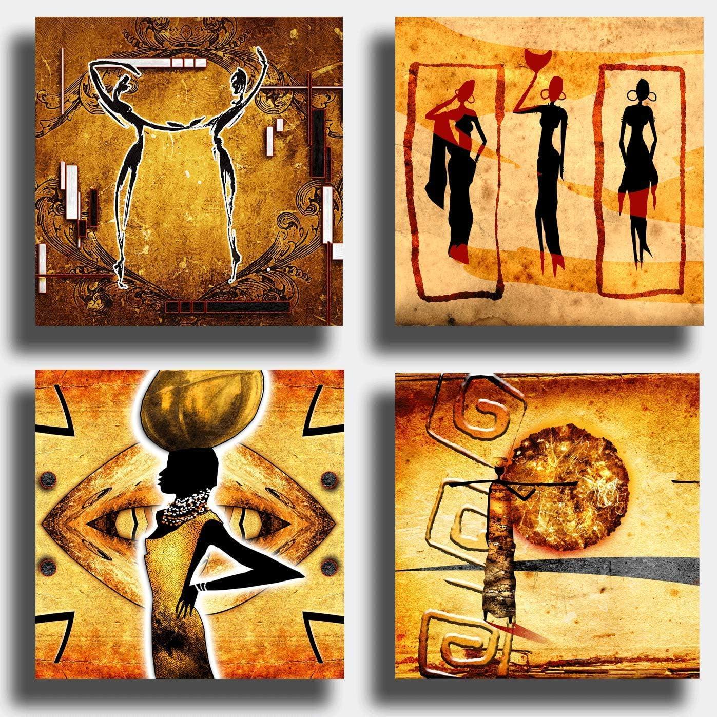 Printerland Cuadros Modernos étnicos 4 Piezas 40 x 40 cm Arte Africano Sol impresión sobre Lienzo Lienzo decoración Abstracto XXL decoración salón Dormitorio Cocina Oficina Bar Restaurante