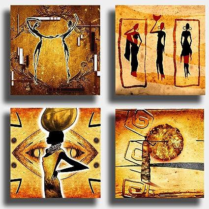 Cuadros modernos étnicos 4 piezas 40 x 40 cm arte africa africana sol impresión sobre lienzo lienzo decoración abstracto XXL decoración salón dormitorio cocina oficina bar restaurante