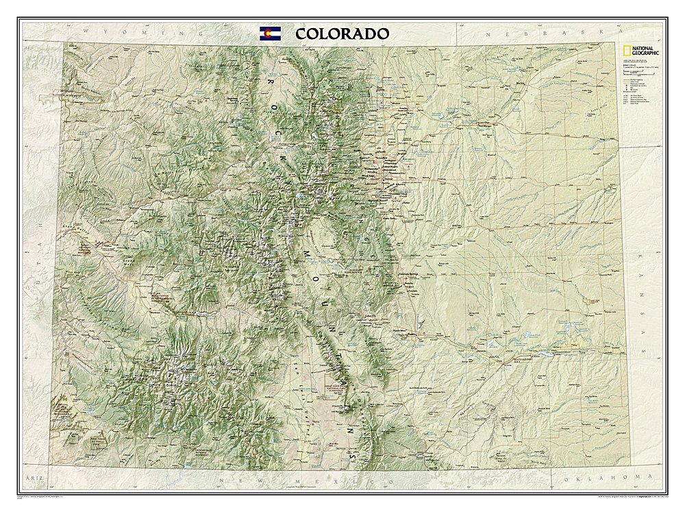 National Geographic: Colorado Wall Map - Laminated (40.5 x 30.25 inches) (National Geographic Reference Map)