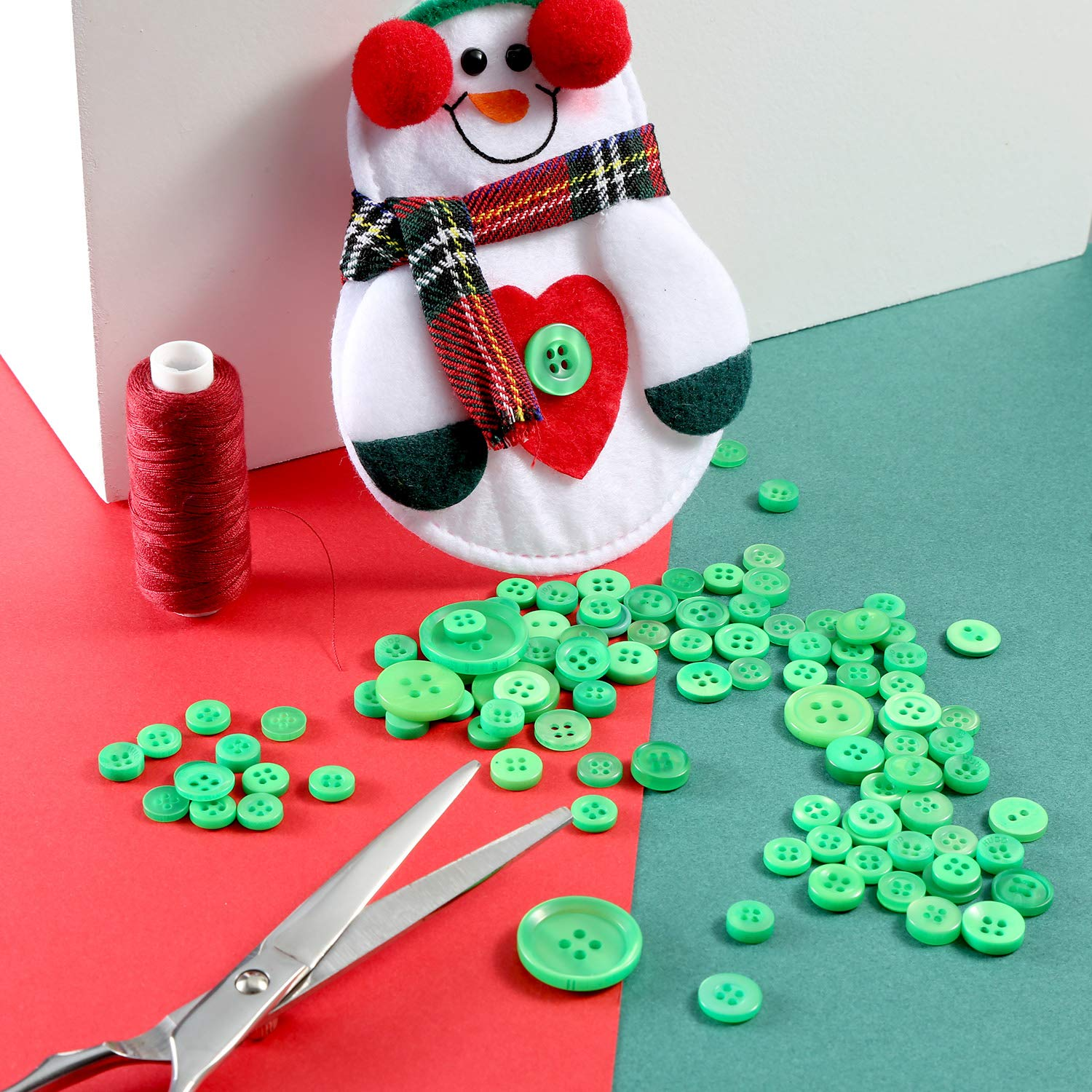 1000 Pieces Christmas Buttons Round Craft Resin Buttons For