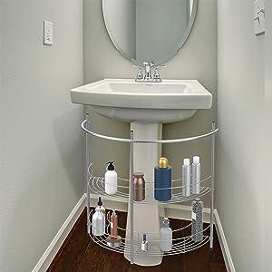 Lavish Home 83-150 Pedestal Organizer – Compact Under The Sink Rack with 2 Storage Shelves and Towel Holder, Standard, Chrome