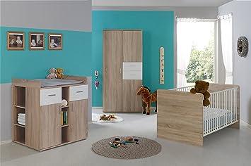 Babyzimmer Komplett Set Elisa 1 In Eiche Sonoma Weiß