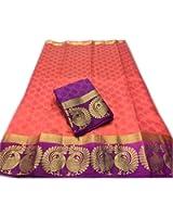 Indian Beauty Kanjivaram Emboss Tussar With Jecqured Border With Blouse Saree