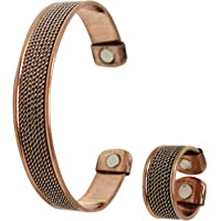 COPPERVAST Copper Bracelet and Ring for Arthritis-Magnetic Therapy Effective & Natural Relief for Joint Pain and Carpal Tunnel for Men and Women(Chain Inlay)