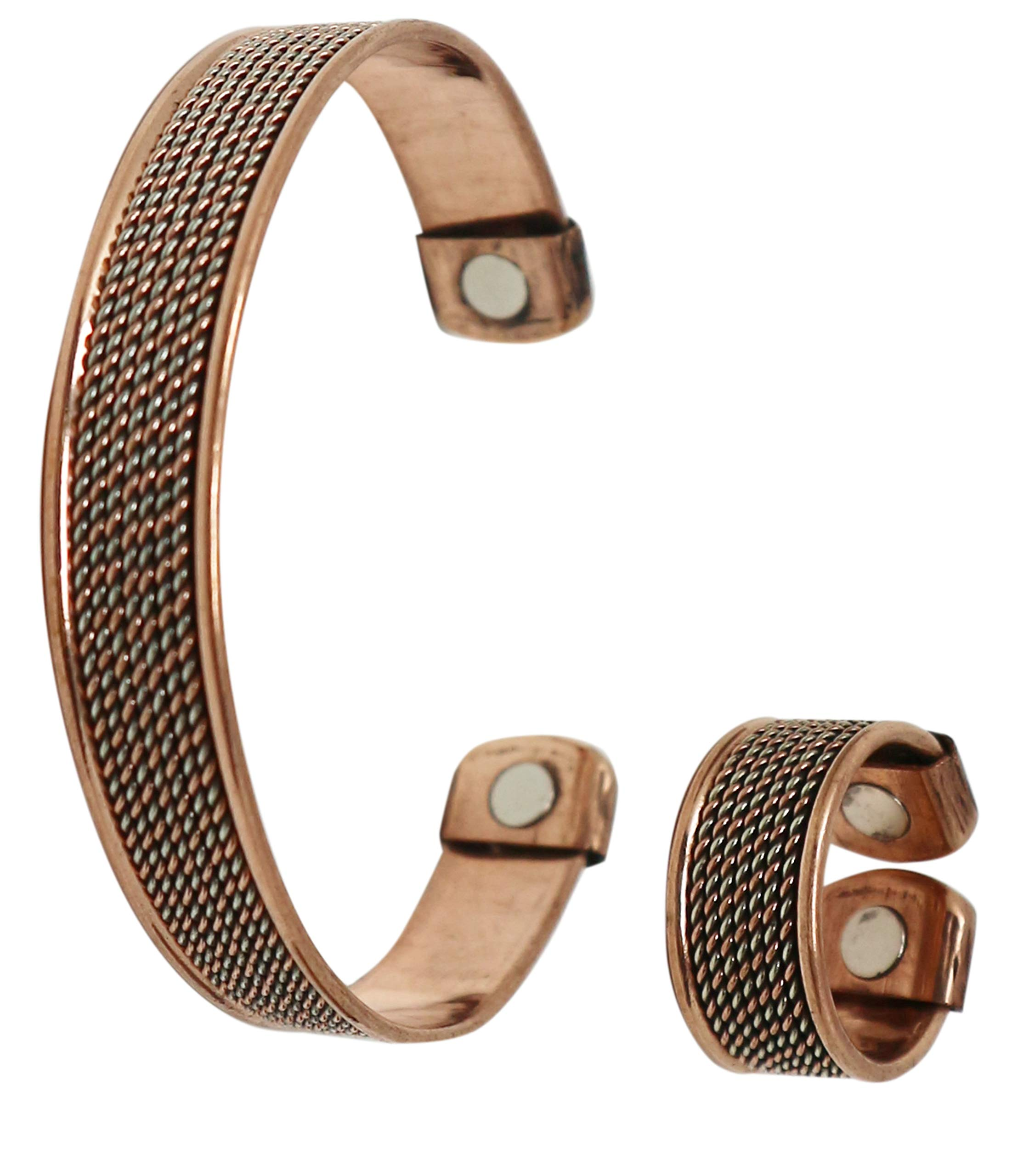 COPPERVAST Copper Bracelet and Ring for Arthritis-Magnetic Therapy Effective & Natural Relief for Joint Pain and Carpal Tunnel for Men and Women(Chain Inlay) by Coppervast