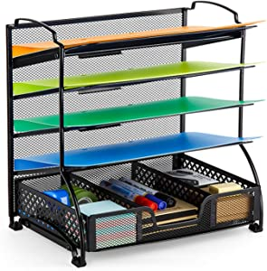 Bextsware 5-Tier Mesh Desktop Organizer File Folder with Sorters Basket, Document Letter Tray Holder Desk Accessories Organization Supplies for Office or Home, Black
