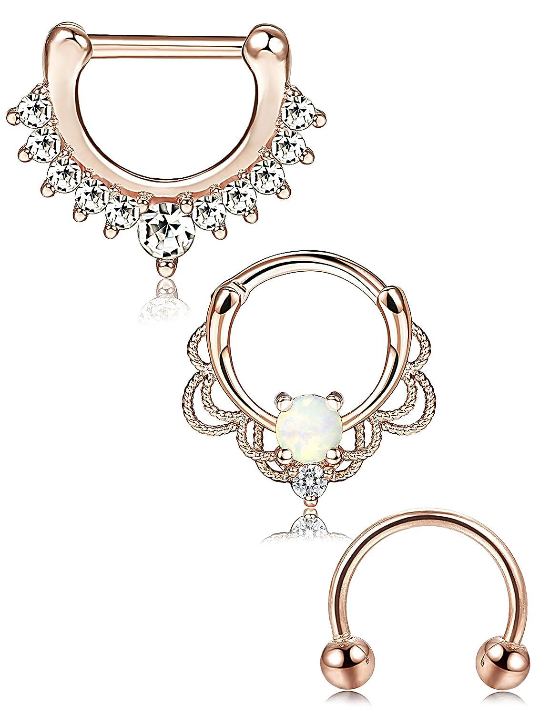 ORAZIO 2-3PCS 16G Stainless Steel Nose Ring Septum Hoop Opal Body Piercing Clicker Ring CC21-3RG