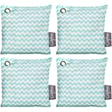 4 Pack - 200g Activated Charcoal Deodorizer Odor Neutralizer Bags, Unscented Air Freshener, Car Freshener, Moisture Absorber, 100% Chemical-Free Odor Eliminator, Teal Pattern, by California Home Goods