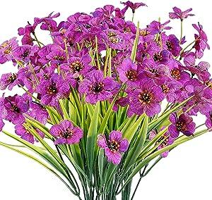 Artificial Flowers Outdoor, 20 Bundles Fake Flower UV Resistant Plants Faux Plastic Greenery Shrubs for Indoor Outside Garden Porch Window Box Garden Decor (Purple)