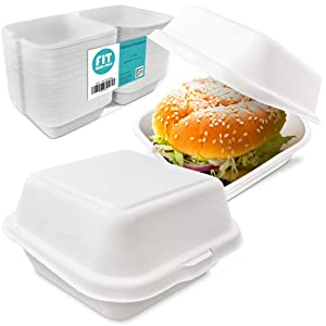 """[75 Pack] 6x6x3"""" Clamshell Food Containers with 1 Compartment - Compostable Take Out Box, 100% Biodegradable Sugarcane, Styrofoam and Plastic Alternative, Microwave Safe, to Go Lunch and Meals"""