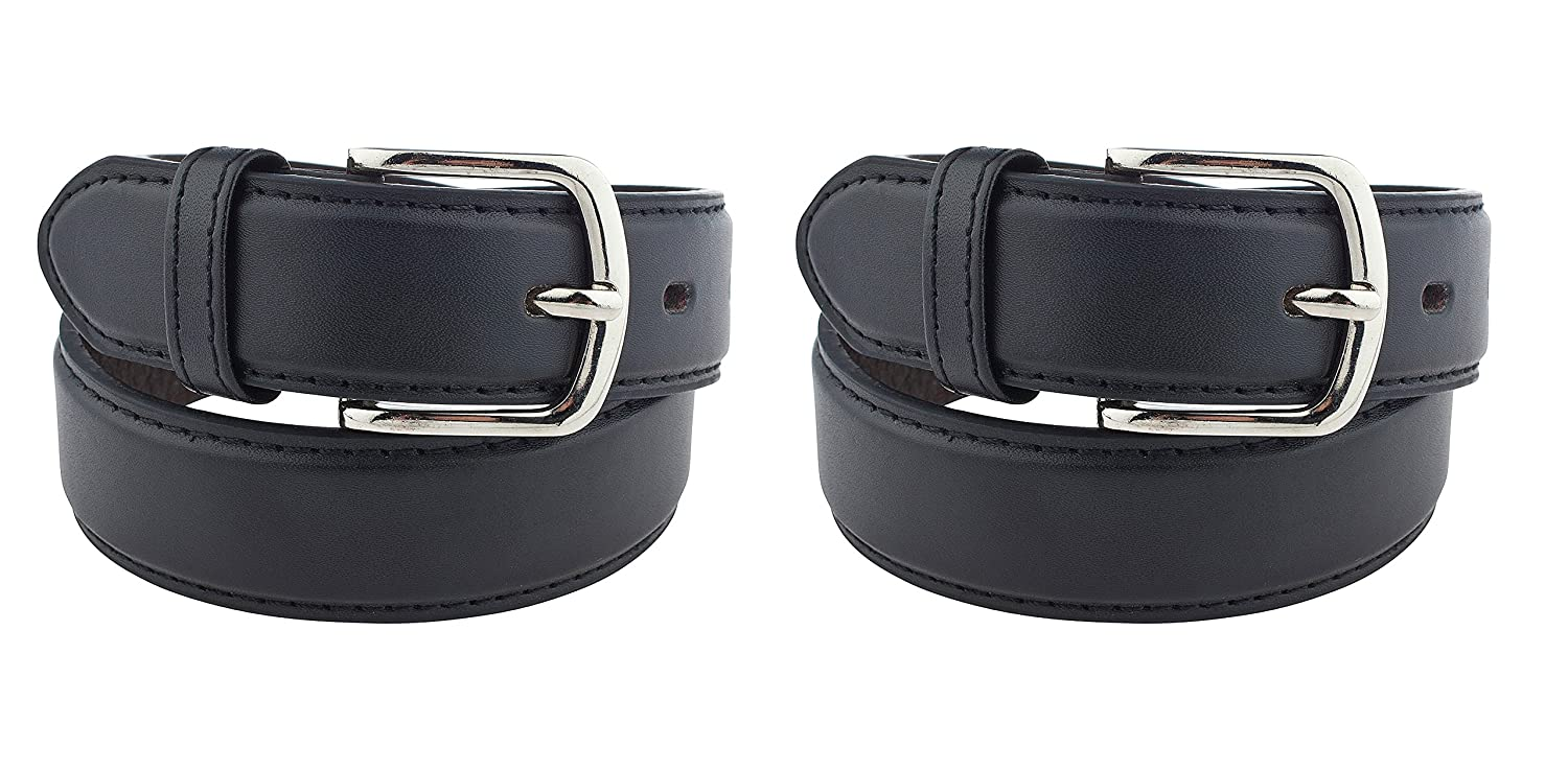 2 Pack Kids Faux Leather 1 Belt - Available from Small to Large KIDS TWO HOLE BLACK SINGLE XL