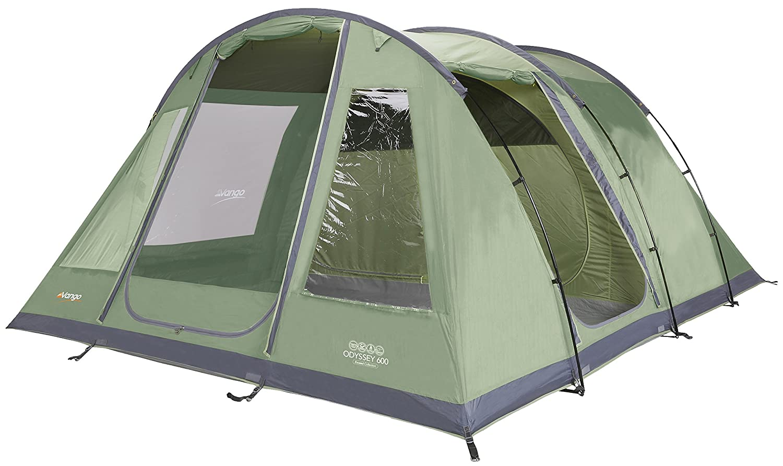 Vango Odyssey 600 Familien-Tunnel-Zelt für 6 Personen, Grün