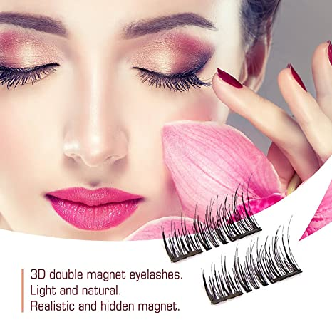Amazon.com : 8x Magnetic Eyelashes Glue-free 3D Reusable Dual Magnet Premium Quality Natural Look Best False Lashes : Beauty