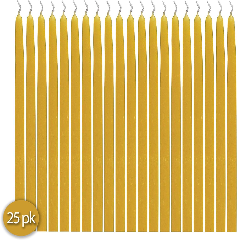 naturelle 100/% pure fabriqu/ée aux /États-Unis Cire dabeille parfum/ée /à la main jaune dor/é Paquet de 25 9 po de hauteur Bougies coniques /à la cire dabeille
