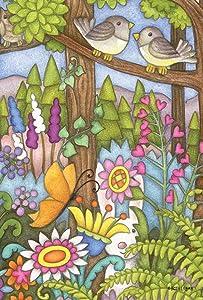 Toland Home Garden Enchanted Forest 28 x 40 Inch Decorative Spring Summer Flower Bird Butterfly Rabbit House Flag