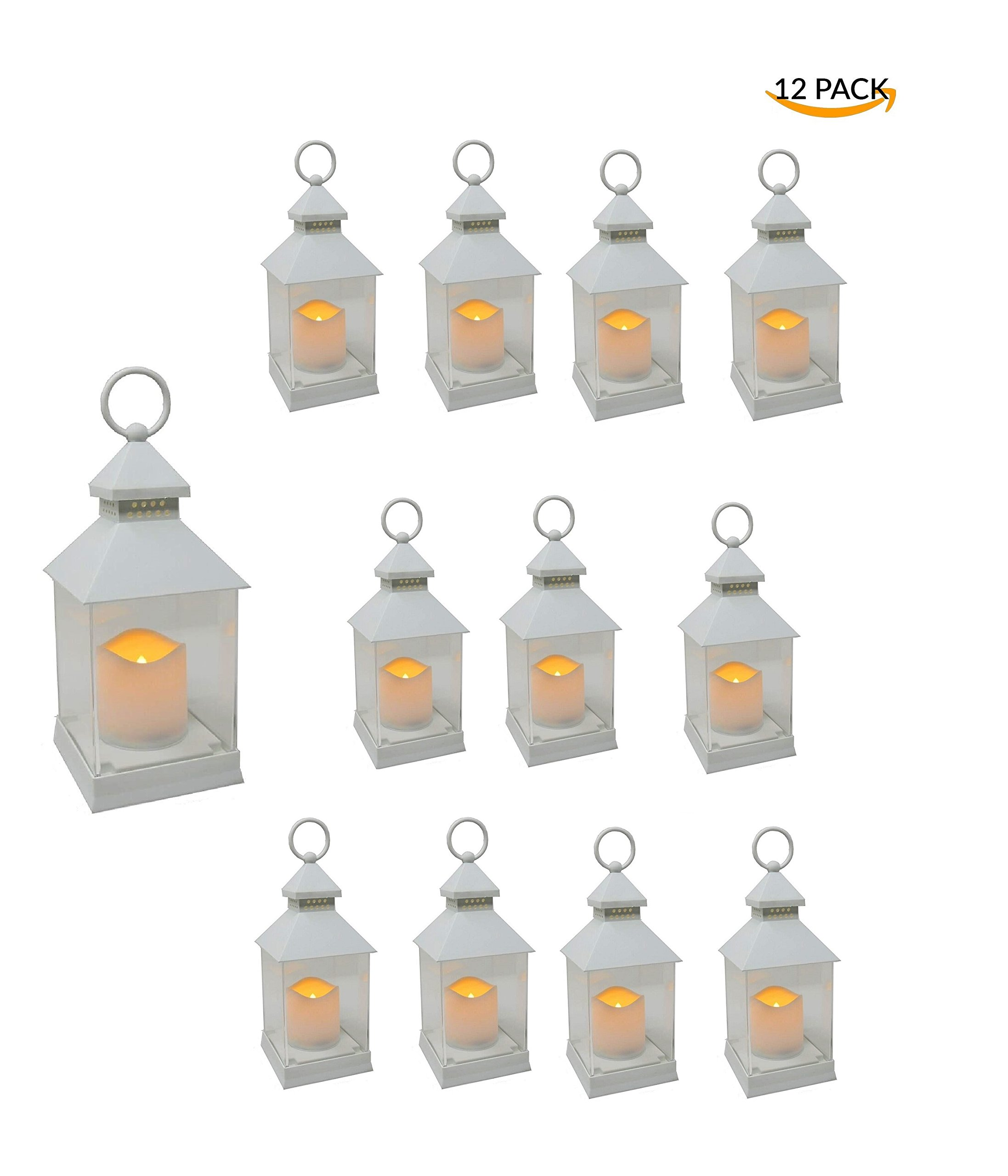 Just In Time for Spring {12 Pc SET} - 10'' Decorative Lanterns With Flameless LED Lighted Candle 5 Hr Timer Modern Look Indoor Outdoor Home, Garden, Weddings - Includes Bonus String Lights! White.