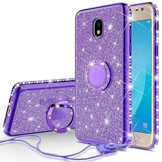ff9d64725f [GW USA] Glitter Cute Phone Case Girls Kickstand for Samsung Galaxy J3 2018/